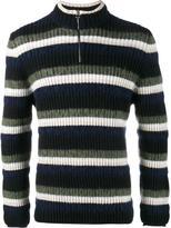 Helen Lawrence - striped wool, mohair and lambswool half-zip jumper - men - Polyamide/Spandex/Elastane/Mohair/Lambs Wool - S