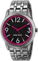 Nine West Women's NW/1579PKGN Bright Pink Accented Dial Gunmetal Bracelet Watch