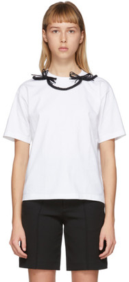 SHUSHU/TONG White and Black Bow T-Shirt