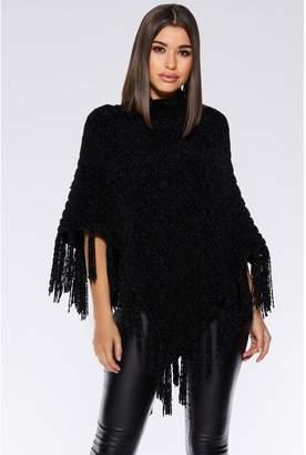 Quiz Black Chenille Knit Tassel Poncho