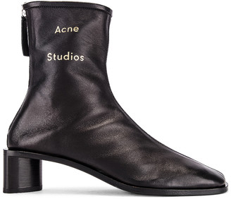 Acne Studios Logo Boot in Black & Black | FWRD