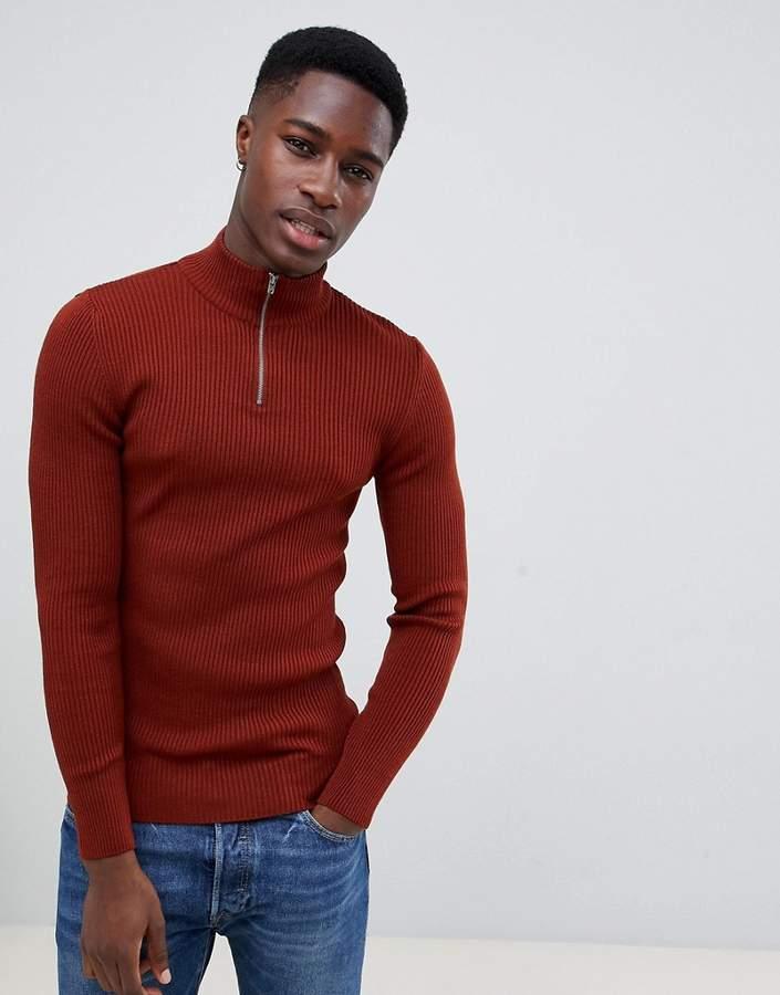 9e8825e60ed Design DESIGN muscle fit ribbed half zip jumper in auburn