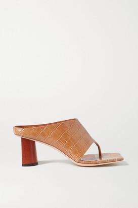 REJINA PYO Lina Croc-effect Leather Sandals - Neutral