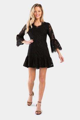 francesca's Cristel Lace V-Neck Dress - Black