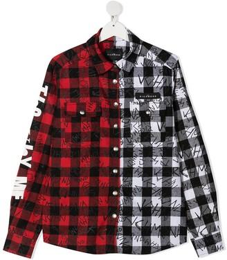 John Richmond Junior TEEN two-tone cotton shirt