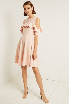 French Connection Alissia Flare Cold Shoulder Dress
