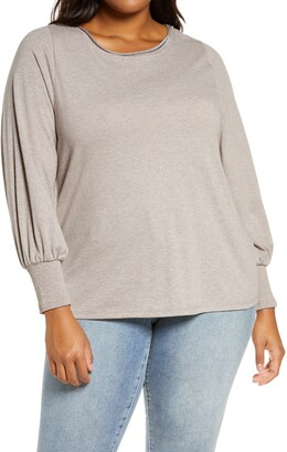 Wit & Wisdom Metallic Detail Smock Sleeve Cotton Blend Top