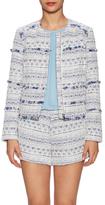 Joie Tesita Cotton Jacquard Fringe Trim jacket