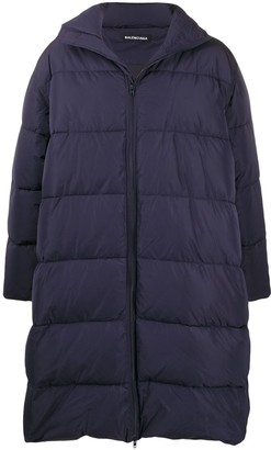 Balenciaga Logo Patch Quilted Puffer Coat