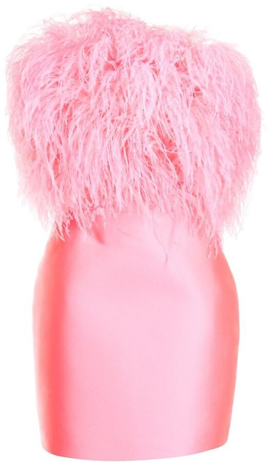 Isabel Sanchis Feather-Detail Bustier Dress