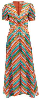 Saloni Lea Striped Silk Crepe De Chine Maxi Dress - Womens - Multi