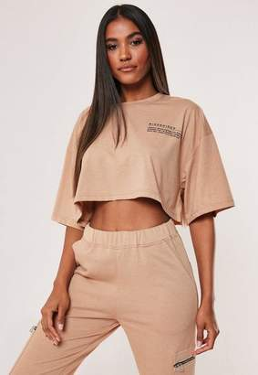 Missguided Camel Mg Graphic Drop Shoulder Oversized Cropped T Shirt