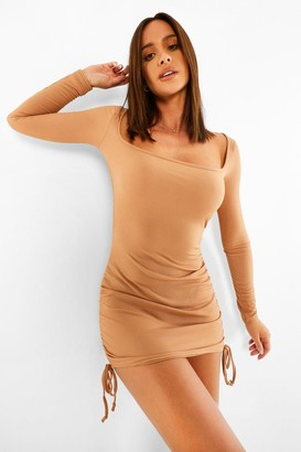 boohoo Ruched Square Neck Rib Mini Dress