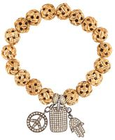 Loree Rodkin carved wood diamond charm bracelet