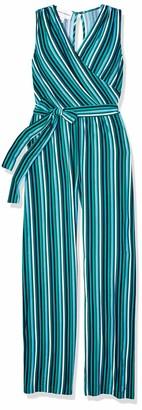 Donna Morgan Women's Sleeveless Matte Jersey Metallic Stripe Wrap Jumpsuit