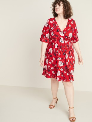Old Navy Fit & Flare Faux-Wrap Plus-Size Dress
