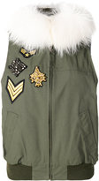 Furs66 jewel patch bomber vest