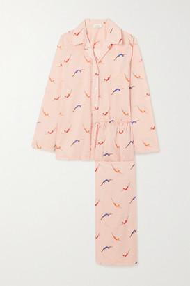POUR LES FEMMES Swimmers Printed Cotton-voile Pajama Set - Pink