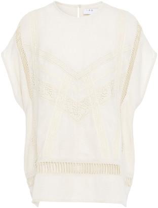 IRO Lattice-trimmed Silk And Cotton-blend Twill Top