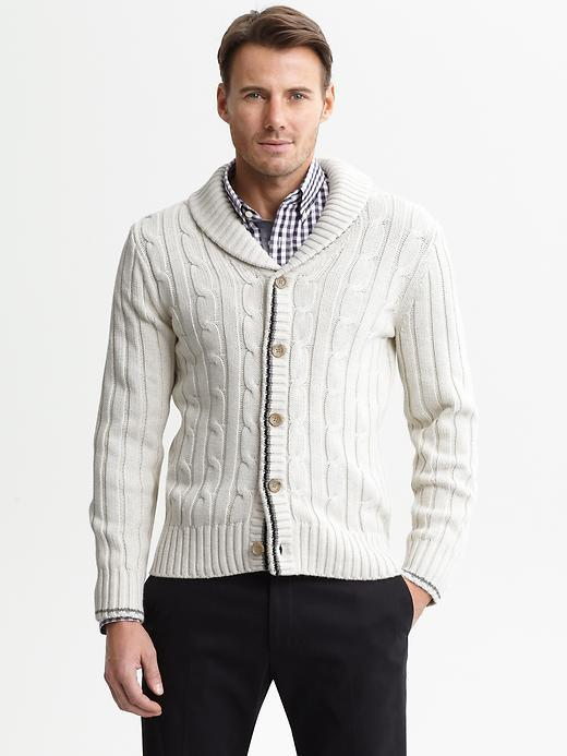 Banana Republic Tipped cable-knit shawl-collar cardigan