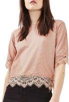 Topshop Lace-Trimmed Petal T-Shirt