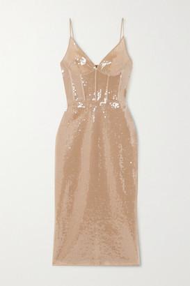 David Koma Sequined Tulle Midi Dress - Beige