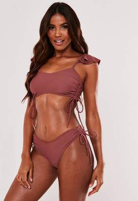 Missguided Brown Ruched High Leg Boomerang Bikini Bottoms