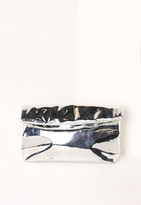 Missguided High Shine Roll Top Clutch Bag Silver
