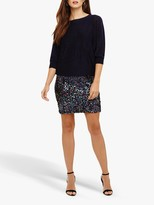 Phase Eight Geonna Sequin Skirt Knit Dress, Blackcurrant