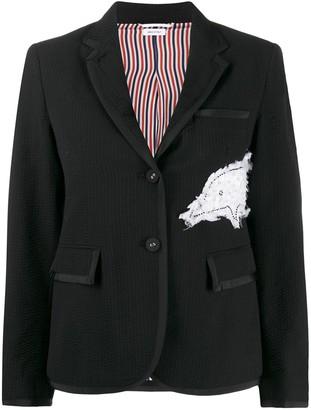 Thom Browne Embroidered Dolphin Textured Blazer