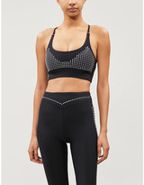 Adam Selman Core studded stretch-jersey sports bra