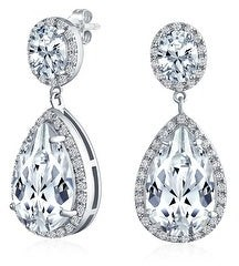 Bling Jewelry Prom Statement Teardrop Pave CZ Halo Dangle Earring Silver Plated