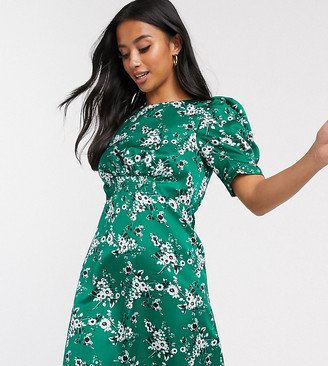 ASOS DESIGN Petite mini tea dress in green floral print