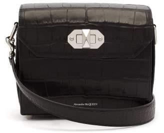 Alexander McQueen Box 21 Crocodile-effect Leather Cross-body Bag - Womens - Black