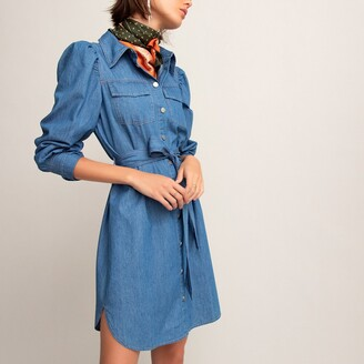 La Redoute Collections Denim Mini Shirt Dress with Long Sleeves