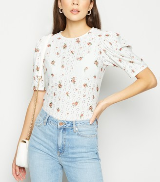 New Look Floral Broderie Puff Sleeve Top