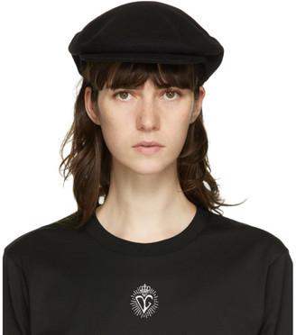 Dolce & Gabbana Black Wool Newsboy Cap