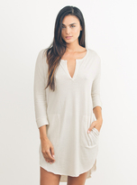 Junk Food Clothing Stray Heart 3/4 Henley Dress-ivory-xs