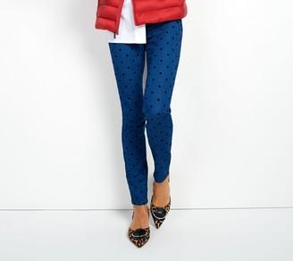 Martha Stewart Petite Knit Denim Flocked Polka Dot Ankle Jeans