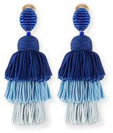 Oscar de la Renta Long Silk Tiered Tassel Clip-On Earrings