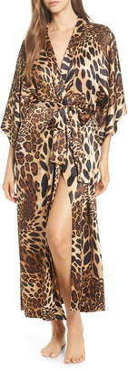 Natori Leopard Print Long Satin Robe