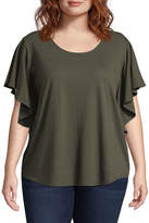 Boutique + + Flutter Sleeve Scoop Neck T-Shirt - Plus