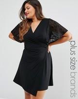 Praslin Plus Wrap Dress With Lace Kimono Sleeves