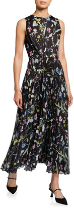 Jason Wu Collection Sleeveless Floral Pleated Midi Dress