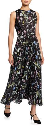 Jason Wu Collection Sleeveless Floral Pleated Midi Dress
