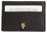 Alexander McQueen Women's Embossed Calfskin Leather Card Holder - Black