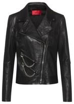 HUGO BOSS - Regular Fit Leather Biker Jacket With Chain Embellishments - Black
