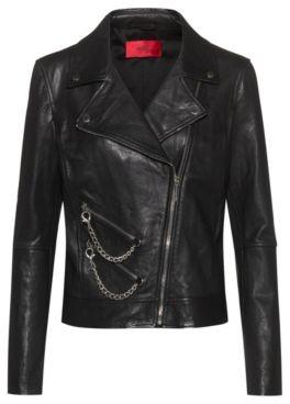 HUGO BOSS Regular Fit Leather Biker Jacket With Chain Embellishments - Black