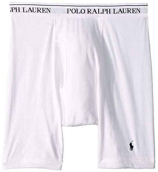 Polo Ralph Lauren Classic Fit w/ Wicking 3-Pack Long Leg Boxer Briefs (White/Cruise Navy Pony Print) Men's Underwear