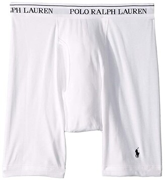 Polo Ralph Lauren Classic Fit w/ Wicking 3-Pack Long Leg Boxer Briefs (White/Cruise Navy Pony Print) Men's Underwear